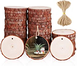 Natural Wood Slices with Holes 40 Pcs 2.0-2.4 Inches Craft Wood Kit Unfinished with Barks Wooden Circles Great for Arts and Crafts Christmas Ornaments Rustic Wedding DIY Woodland Projects