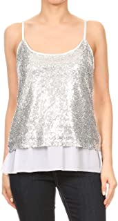 Womens Sequin Strap Sheer Ruffle Hem Sparkly Party Crop Tank Top