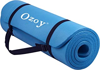 Ozoy 13 mm Extra Thick Yoga and Exercise Mat Anti Skid with Carrying Strap for Gym Workout and Flooring Exercise (Blue 2020)