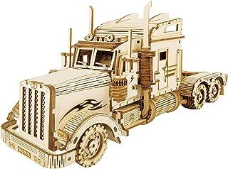 Robotime Puzzle Pesante per Camion 3D costruito sul Tuo Kit di Modelli in Legno con Taglio Laser per Adulti