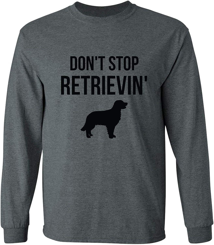 Don't Stop Retrievin' Adult Long Sleeve T in Dark Heather - XXXXX-Large