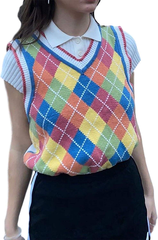 80s Sweatshirts, Sweaters, Vests | Women KMBANGI Women Streetwear Preppy Style Knitwear Tank Top Y2K Argyle Sweater Vest Waistcoat Clothes  AT vintagedancer.com