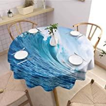 DILITECK Restaurant Round Tablecloth Ocean Decor Large Powerful Pasific Surf Sea Wave Crashes Hard Party Diameter 50 inch