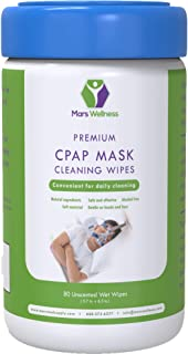 Mars Wellness CPAP Cleaning Mask Wipes - Unscented - 80 5X6 CPAP Wipes - Lint Free Cleaning Wipes - 1 Pack