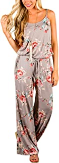 Yidarton Sommer Floral Bedruckte Jumpsuit Damen Halfter ärmellose breite Lange Hosen Jumpsuit Strampler