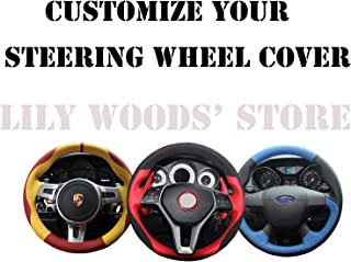 Loncky Genuine Leather Auto Custom Steering Wheel Cover for 2012-2016 Toyota Tacoma / 2014-2016 Toyota Tundra / 2010 2011 2013 2013 2014 2015 2016 Toyota 4Runner / 2014-2016 Toyota Sequoia