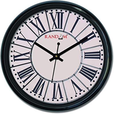 Random Wall Clock For Living Room, Bedroom, Home, Office, Kitchen, Round Shaped Designer Plastic Wall Clock For Home Decor, 12- inch, Black 30 x 30 cm(RC-6428)