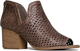 Perch Perforated Bootie - Distressed Leather Block Heel Cut Out Boot