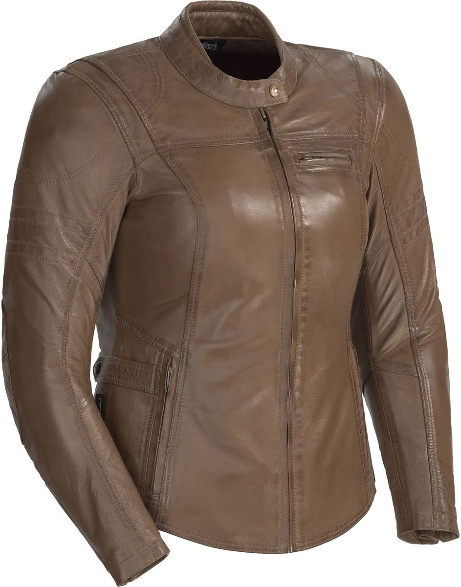 Cortech Womens Bella Leather Motorcycle Jacket Brown, Small
