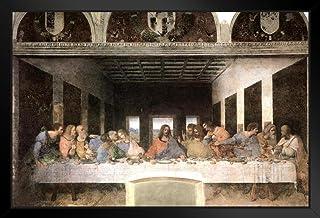 Leonardo Da Vinci The Last Supper Mural Painting Jesus Apostles Poster - 12x18 Art Print Framed in Black Wood 14x20 inch B...