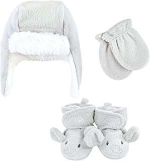 Hudson Baby Unisex czapka łapacz dziecka, zestaw rękawiczek i botków, szary słoń, 0-6 miesięcy