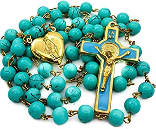 Nazareth Store Saint Benedict Catholic Rosary NecklaceTurquoise Beads Heart Locket Medal & Cross Crucifix in Velvet Bag