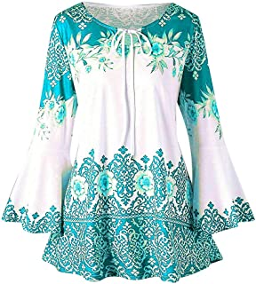 9260aefe8c Womens Flare Long Sleeve V Neck Shirts Floral Casual Loose Flowy Tunic Tops  Lightwight Henley T