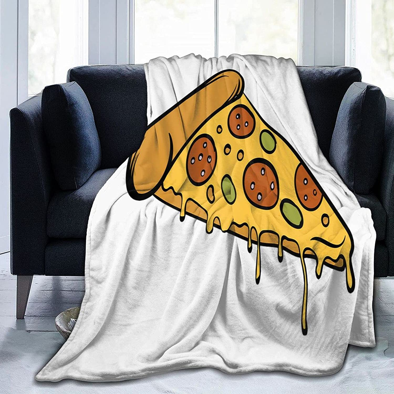 Bargain Pizza Slice icon Soft Cozy Luxury Decorative Blanket Fleec Fluffy Fuzzy