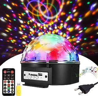 Luces Discoteca, SOLMORE Bola Discoteca 18x18x15CM 9 Colores, LED Giratoria Luz de Fiesta 18W, Sonido Activado, Reproductor de música, Control Remoto, para Cumpleaños, Discoteca, Fiesta, Bar, Navidad