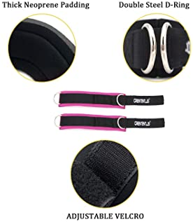 Greententljs Gym Ankle Straps for Cable Machines - Fitness Padded Ankle Cuffs Strap Attachment Workout for Glute Exer...