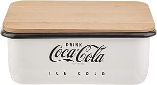 TableCraft's Coca-Cola Enamel Bread Box with Lid, 14.5 x 9.5 x 5.75'', White