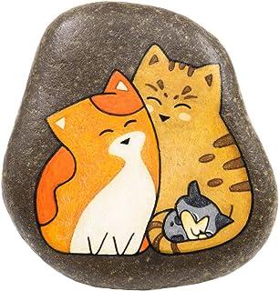 Familia de Gatos, Piedra Pintada a Mano, Gatos Pintados