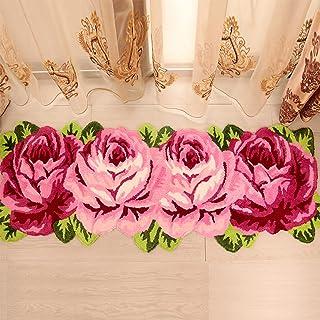 Flower Rug Rose Shaped Rug Floral Mat Waterproof Non Slip Super Soft Runner Area Rug Stairs Floor Doormat Bathtub Home Dec...