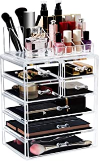 Acrylic Clear Makeup Organizer Cosmetic Drawers Large Plastic Vanity Holder Storage Case Display
