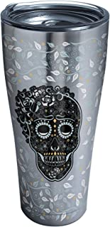 Tervis 1270641 Fiesta - Skull and Vine Stainless Steel Tumbler with Clear and Black Hammer Lid 30oz, Silver