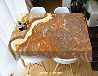 SUPFENG Marble Fashion Lightweight Durable Table Cover Tablecloth Unique Earthen Toned Mother Earth Elegance Natural Travertine Display Decorative for Dining Room Picnic Party