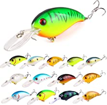 ZWMING Bass Crankbait Fishing Lures Set, Diving Wobblers Artificial Bait with 3D Eyes, Lifelike Swimbait for Freshwater Sa...