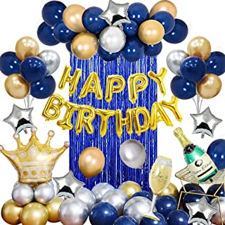 MMTX Birthday Party Decorations Blue Silver and Gold Party Balloons for Boys Friends Men Teens with Happy Birthday Banner ...