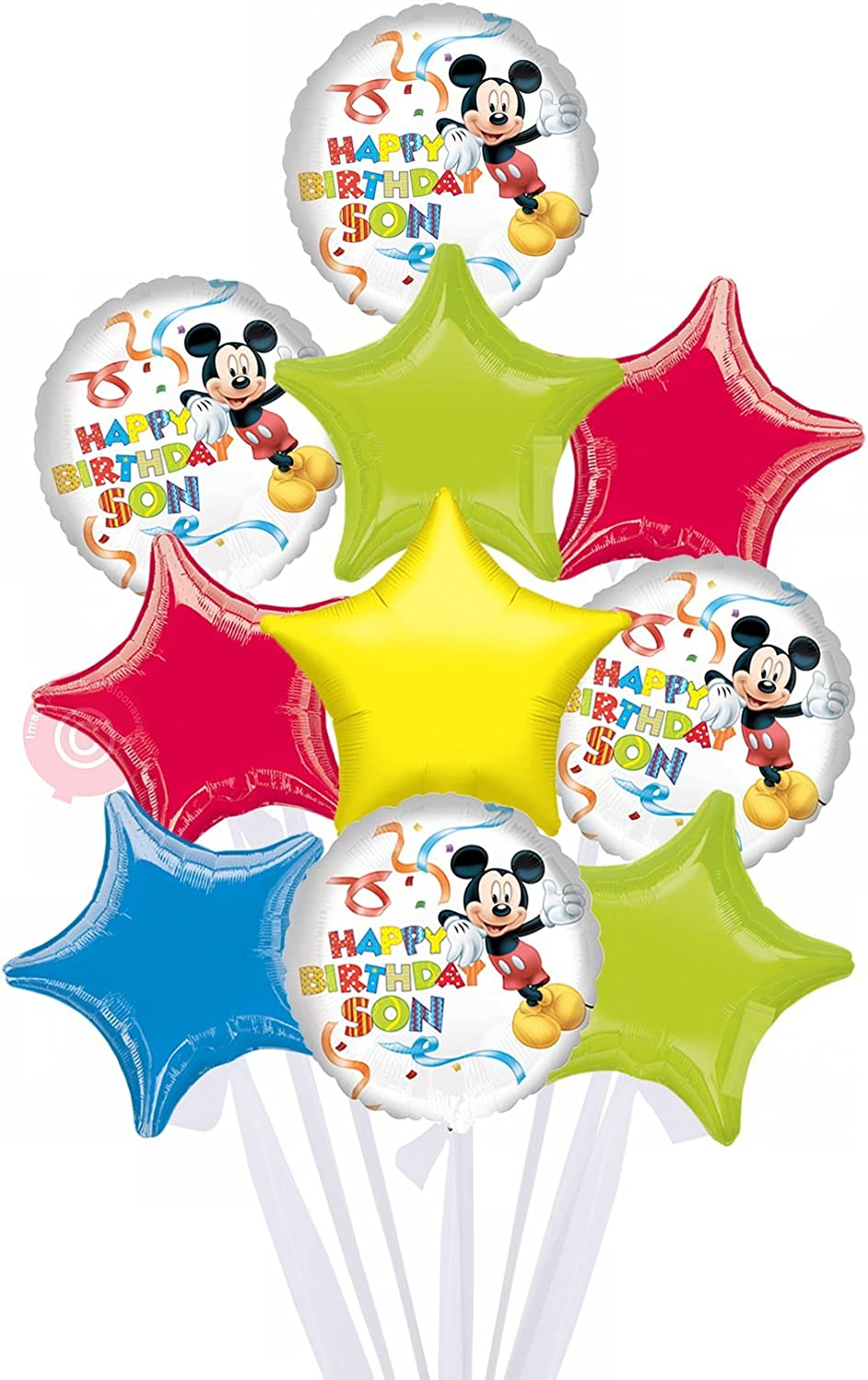 Mickey Happy Birthday Son  Inflated Birthday Helium Balloon Delivered in a Box  Biggest Bouquet  10 Balloons  Bloonaway