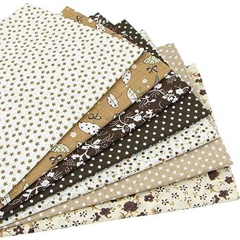 7 piezas 49cm * 49cm tela de algodón marrón para patchwork,telas para hacer patchwork, telas tilda, retales de telas, tela algodon por metros: Amazon.es: Hogar