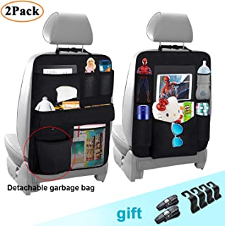 Cadaleem Car Backseat Organizer(2 Pack), Vehicle Seat Back Protector Kick Mat, Seat Back Headrest Hooks & Car Glasses Holders, Universal Use Travel Accessories for Kids, Toddlers and Adults