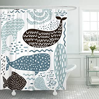 Emvency Shower Curtain Black Abstract with Sea Animal Fur Seal Whale Octopus Fish Childish in Pastel Colors Blue Baby Brush Waterproof Polyester Fabric 72 x 72 inches Set with Hooks
