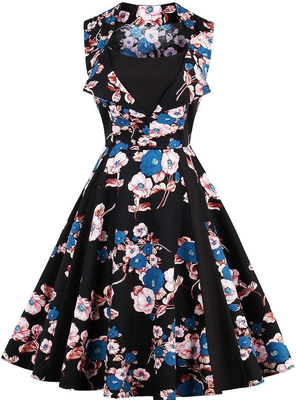 Ayli Women's Portrait Sleeveless 1950s Retro Vintage Style Hollywood Party Flower Midi Swing Dress