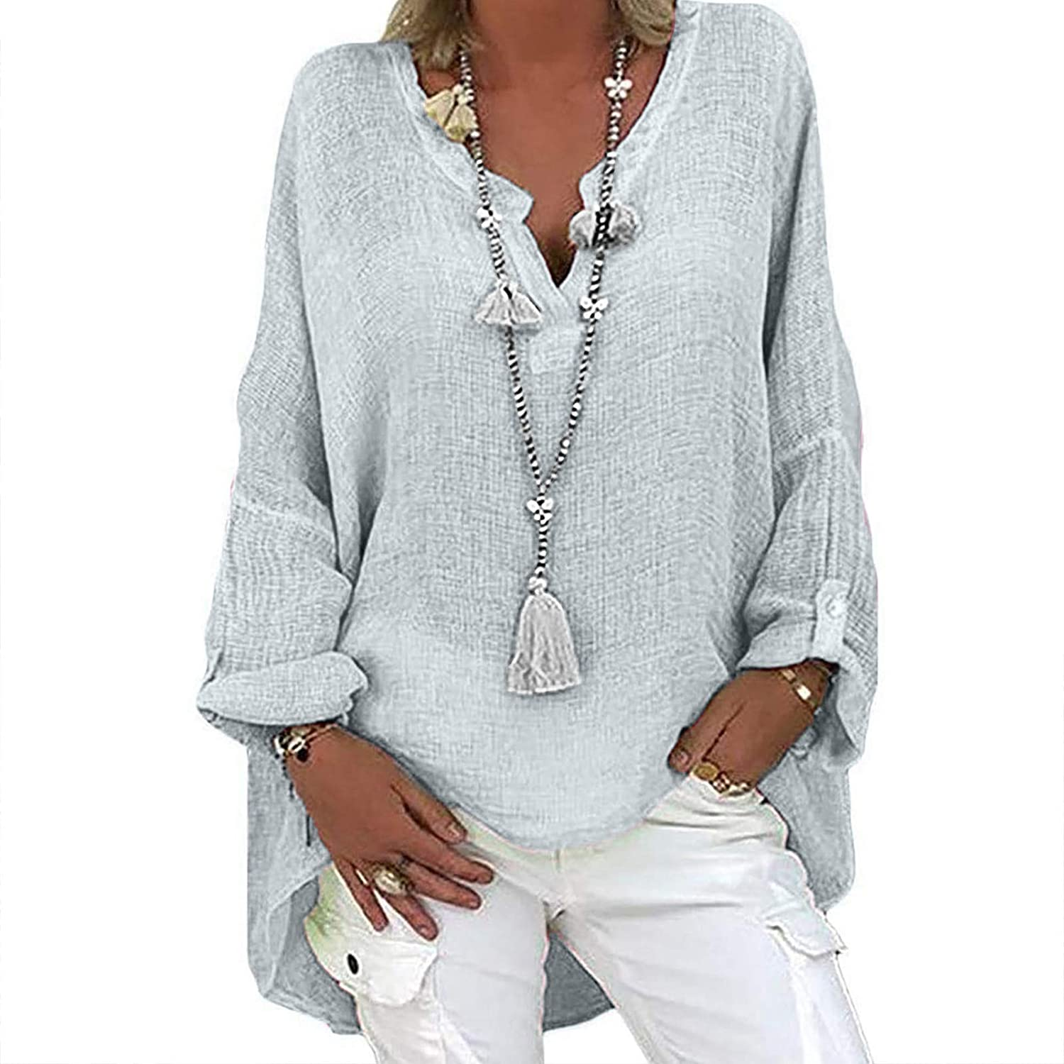 Womens Summer Tops, Plus Size Women Casual Long Sleeve Solid Loose V-Neck Shirts Tops Blouse