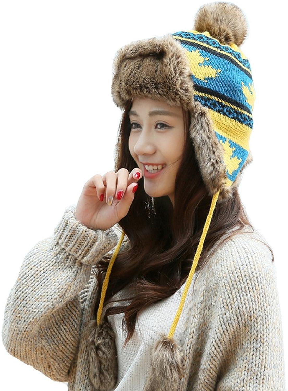 BaiRunJiaYu Women Winter Knitted Hat Faux Fur Ear Flaps with Warm Velet Lined