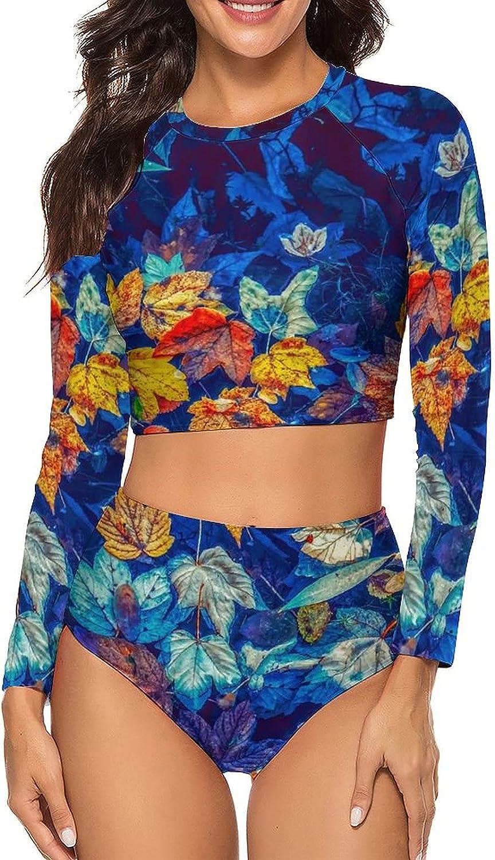 Tvsuh-u Womens Bathing Suits 2 PCS Coloful Fall Leaves Long Sleeve Rash Guard Swimsuits High Waist Athletic Shirt