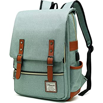 MANCIO Slim Vintage Laptop Backpack For women,Men For Travel, College,School Dayparks, Fits up to 15.6Inch Macbook