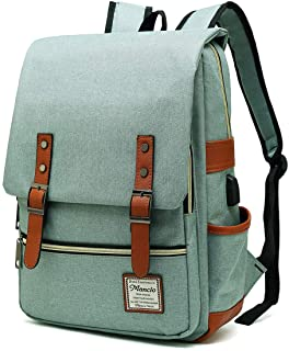 MANCIO Slim Vintage Laptop Backpack For women ,Men For Travel,College,School Dayparks, Fits up to 15.6Inch Macbook