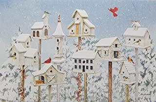 Bird Christmas Cards, Birdhouses, Embossed, Box of 16, by Pumpernickel Press