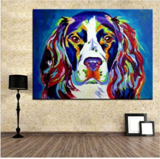 DZXGY Large Size Print Oil Painting Springer Spaniel Wall Painting Home Decorative Wall Art Canvas Painting, Picture for Living Room Painting (No Frame) 70X90cm
