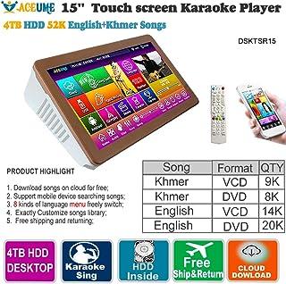 4TB HDD 52 K Khmer/Cambodian VCD, DVD +English DVD Songs 15'' Touch Screen Karaoke Player/Songs Machine,Jukebox,Mulitilingual Menu, Remote Controller