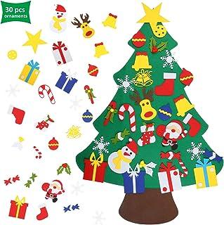 EKKONG Fieltro Árbol de Navidad, DIY Decoración del árbol de Navidad, los Ornamentos Desmontables 30pcs, Regalos Colgantes de Navidad de la Pared para Las Decoraciones de la Navidad