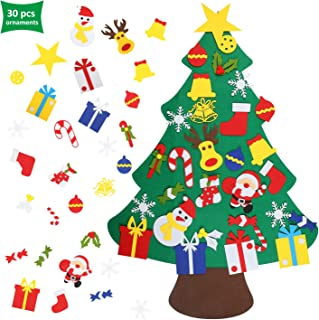 EKKONG Felt Christmas Tree, DIY Christmas Tree with 30 Pcs Detachable Ornaments Wall Decor with Hanging Rope for Toddlers Kids Xmas Gifts Home Door Decoration