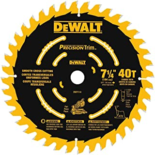 DEWALT DW7114PT DEWALT DW7114PT 40T Precision Trim Miter Saw Blade, 7-1/4