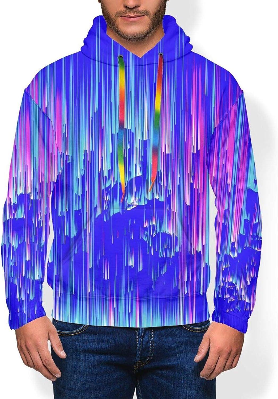 Colorful Neon Rain Art Men'S Hoodie Pullover Fleece Sweatshirt Soft Warm Boys' Jacket