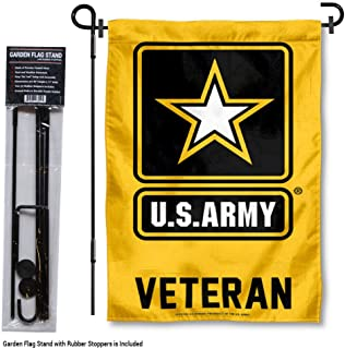 Army Black Knights Veteran Garden Flag with Stand Holder