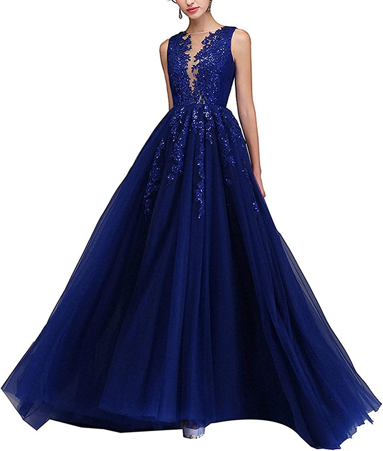 PearlBridal Illusion Neck Lace Appliques Long Prom Dresses Beaded Tulle Evening Dress for Women Side Slit