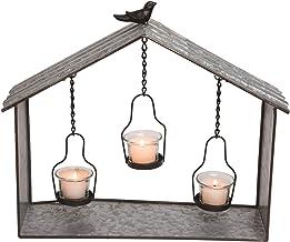 Transpac A4567 Birdhouse Tea Light Candleholder, 16-inch Length, Metal