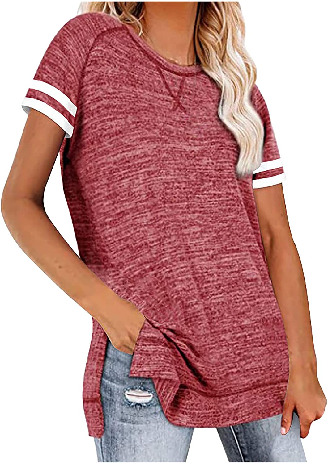 Side Split Blouse for Women Solid Color Pullover Casual Short Sleeve Tshirt Round Neck Tunic