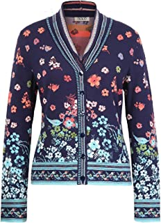 IVKO Floral Rhapsody Pattern V-Neck Jacket in Marine Cotton Button Up Cardigan Sweater